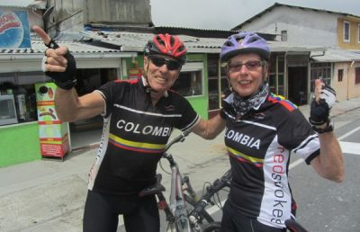 karen / geoff Cycling on the Colombia - Medellin to Bogota tour with redspokes