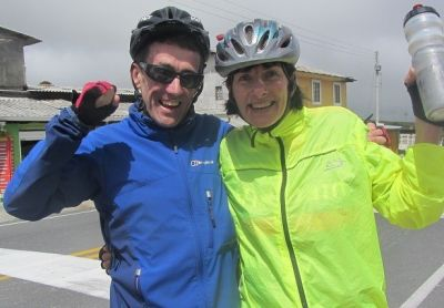 John and Judy  Cycling on the  tour with redspokes
