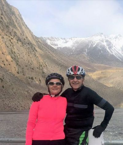 Lorna & John Forsythe Cycling on the  tour with redspokes