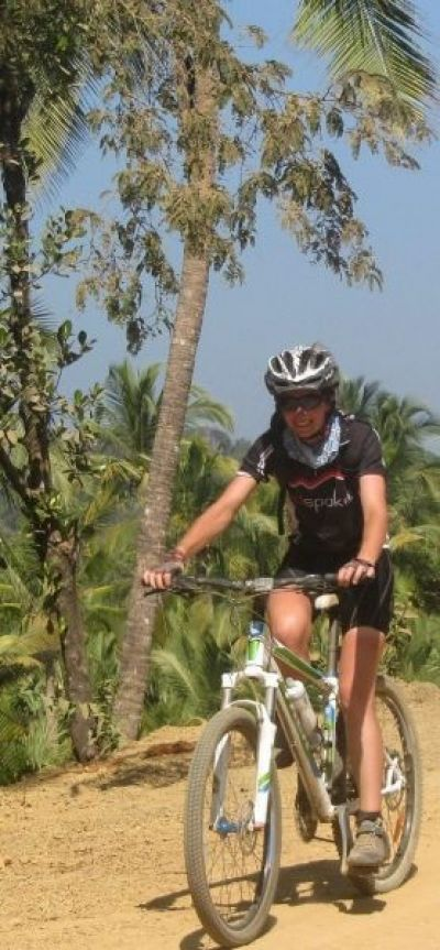 Claire Bugler Cycling on the  tour with redspokes