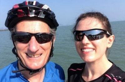 Nigel & Jen Fielden Cycling on the  tour with redspokes