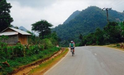 Karina Lehrner Cycling on the Vietnam N.W   tour with redspokes