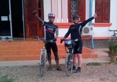 Liz Todd Cycling on the Thailand & Laos tour with redspokes