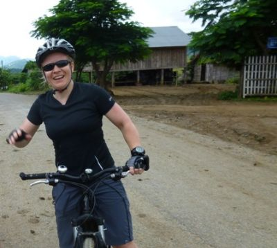 Cath Breckell Cycling on the Thailand & Laos tour with redspokes