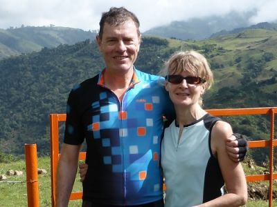 Ruth and Phil Dunnell Cycling on the  tour with redspokes