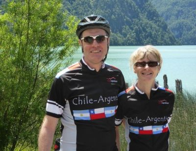 Ruth & Phil Dunnell Cycling on the  tour with redspokes