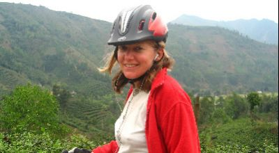 Paula Dyche Cycling on the Vietnam N.W   tour with redspokes