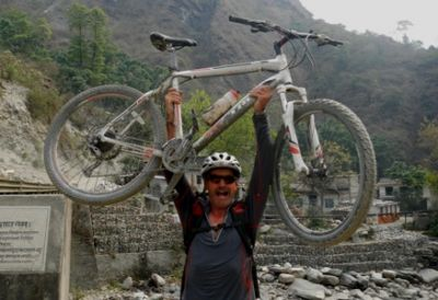 Paul Noonan Cycling on the Nepal tour with redspokes