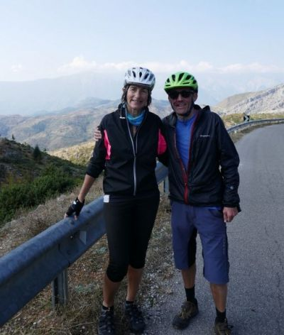 John Roche & Judy Bedford  Cycling on the  tour with redspokes