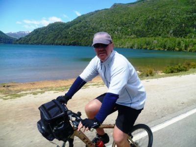 Richard Matheson Cycling on the  tour with redspokes