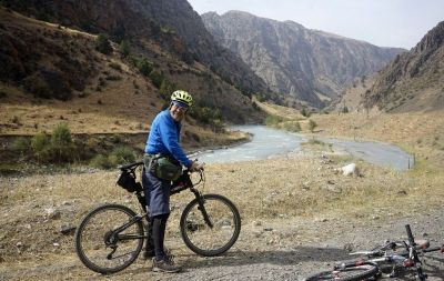 Bob Harrison Cycling on the Tajikistan to Kyrgyzstan   tour with redspokes
