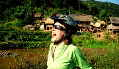 Ashley Makepeace Cycling on the Thailand & Laos tour with redspokes