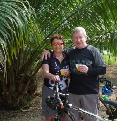 Anne and Peter Barry Cycling on the South Thailand tour with redspokes