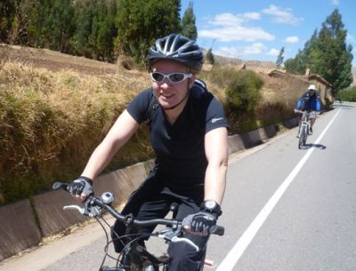 Cath Breckell Cycling on the  tour with redspokes