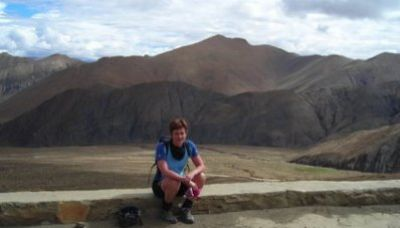 Christine Jackson Cycling on the Lhasa to Kathmandu tour with redspokes