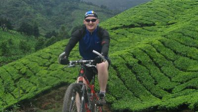 Damian King Cycling on the India - Kerala tour with redspokes