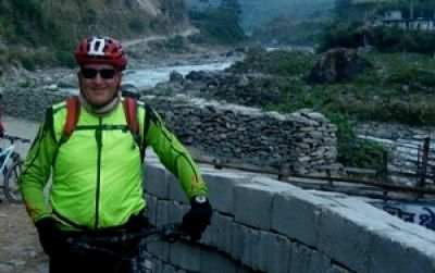 Dave Macfarlane Cycling on the Nepal tour with redspokes