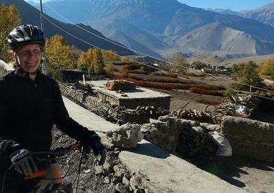 Linda Hoff Cycling on the Nepal tour with redspokes