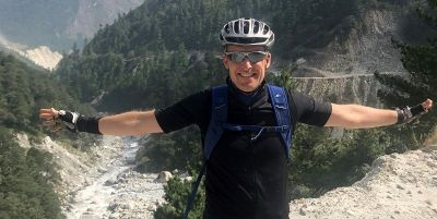 Richard Penny Cycling on the Nepal tour with redspokes