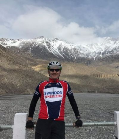 David Richards Cycling on the Nepal tour with redspokes