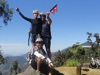 Joanne Bradley Cycling on the Nepal tour with redspokes