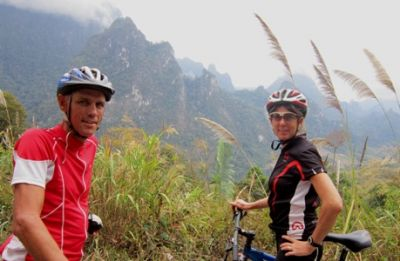 John and Steph MacDonald Cycling on the Thailand & Laos tour with redspokes