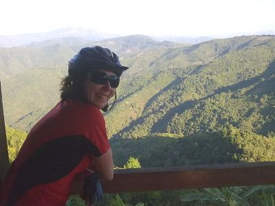Louise Goldingham Cycling on the  tour with redspokes