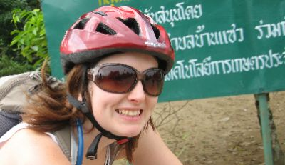 Laura Russell Cycling on the Thailand & Laos tour with redspokes