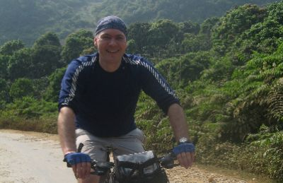 Michael Forde Cycling on the Vietnam N.W   tour with redspokes