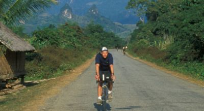 Mike Shelton Cycling on the Thailand & Laos tour with redspokes
