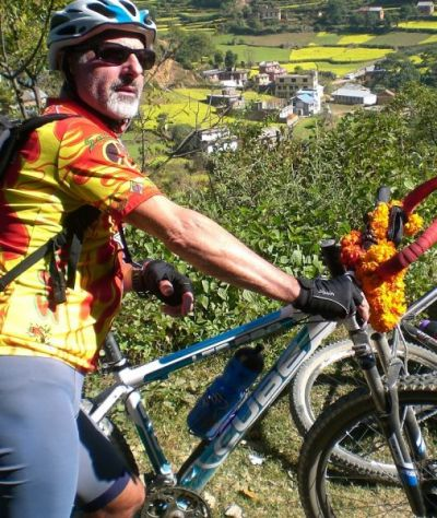 Piero Tassinari Cycling on the Nepal tour with redspokes