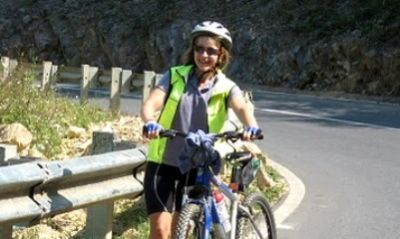 Nicola Hardie Cycling on the Vietnam N.W   tour with redspokes