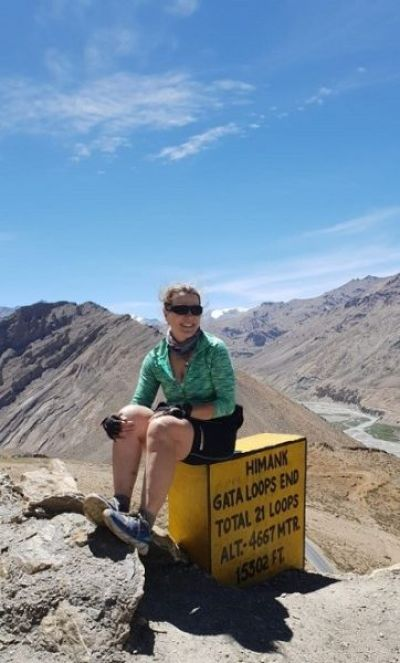 Paula Barclay Cycling on the Indian Himalayas tour with redspokes