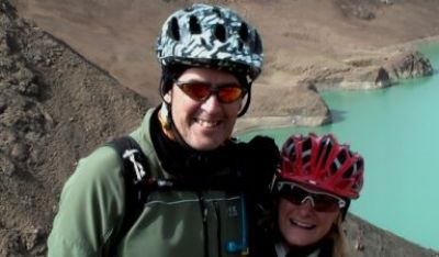 Martin and Angela White Cycling on the  tour with redspokes
