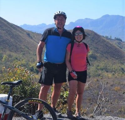 Ann & David Nicoll Cycling on the  tour with redspokes