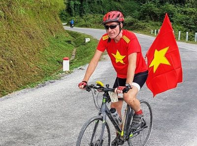 Bruce Irving Cycling on the Vietnam N.E tour with redspokes