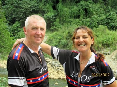 Michael and Christine Lawton Cycling on the Laos - South to North tour with redspokes